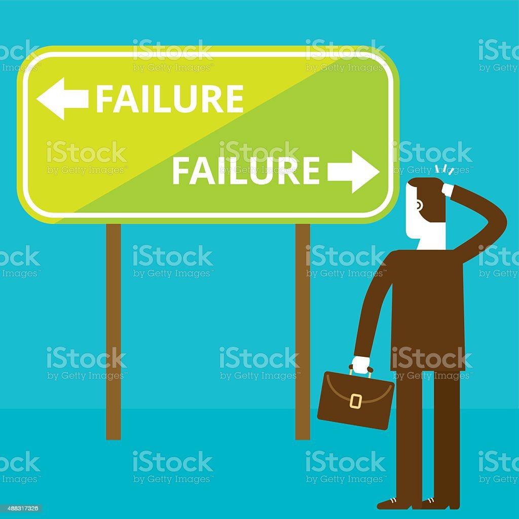 Businessman and Failure Signage | New Biz Concept vector art illustration