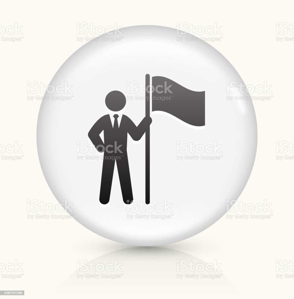 Businessman and Flag icon on white round vector button vector art illustration