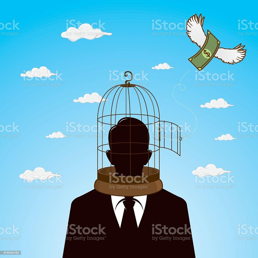 Businessman and free money vector art illustration