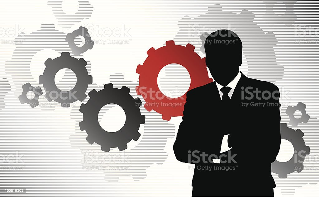 Businessman and gears royalty-free stock vector art