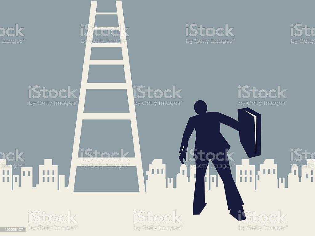 businessman and ladder to success vector art illustration