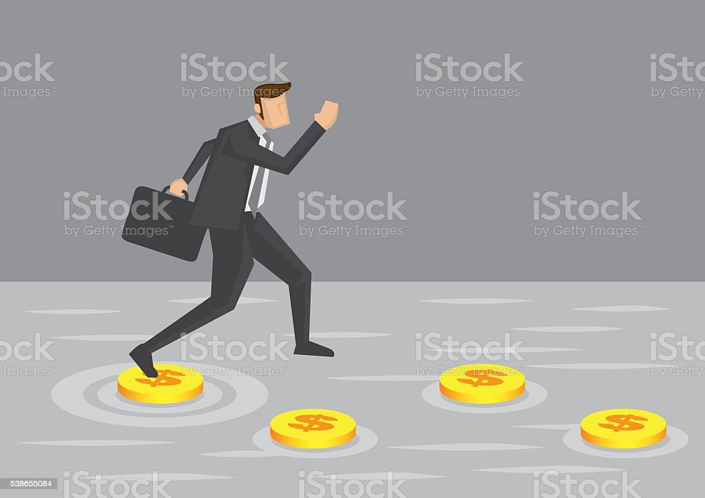 Businessman and Money Stepping Stones Vector Illustration vector art illustration