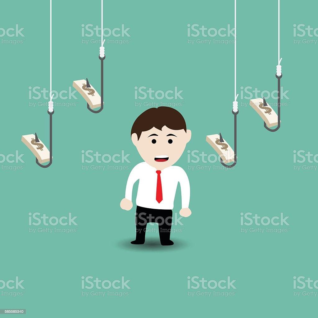 Businessman and money trap vector art illustration