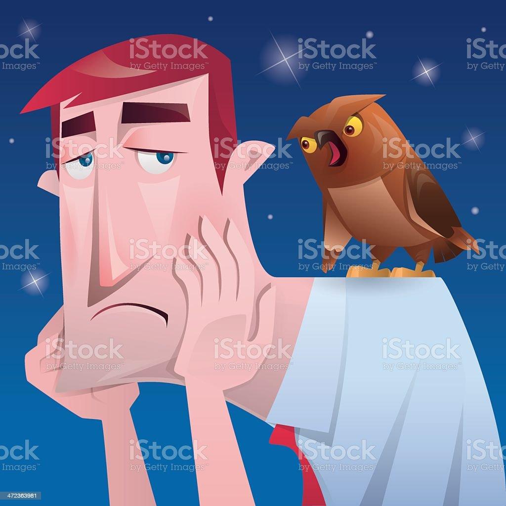 businessman and owl vector art illustration