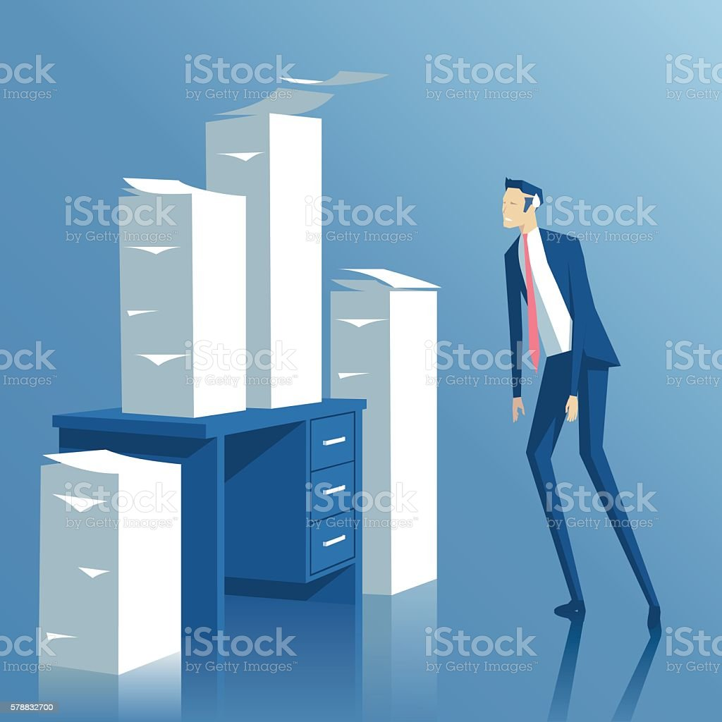 Businessman and paperwork vector art illustration