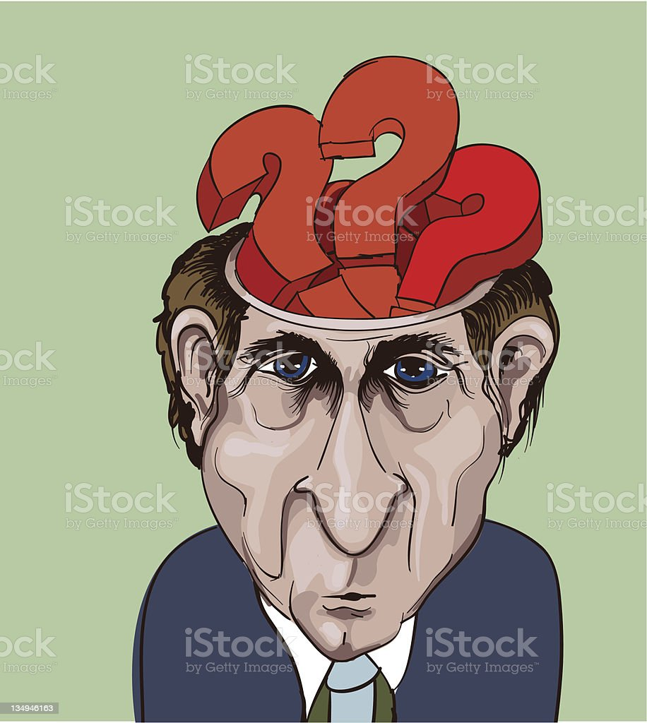 businessman and question marks inside his head royalty-free stock vector art