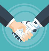 Businessman and robot handshake. Vector flat illustration