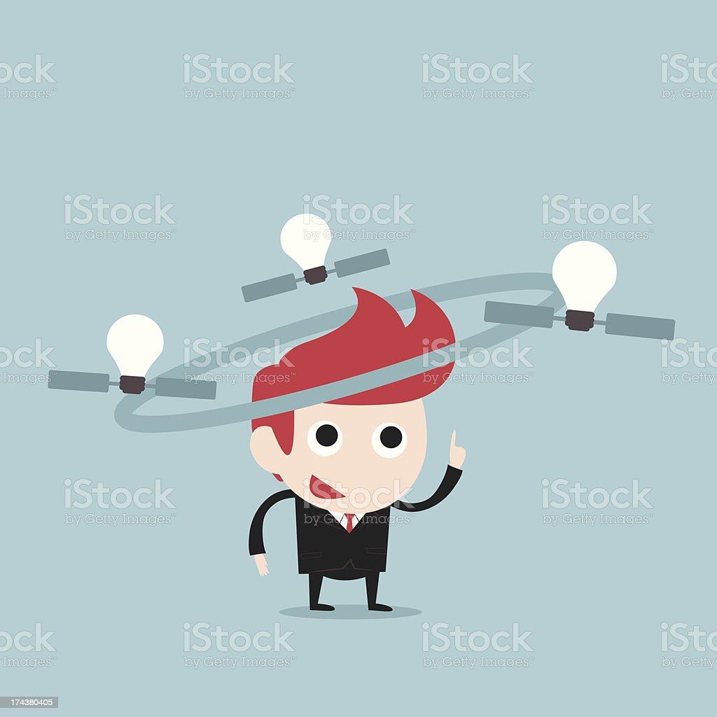 businessman and satellite bulbs idea royalty-free stock vector art