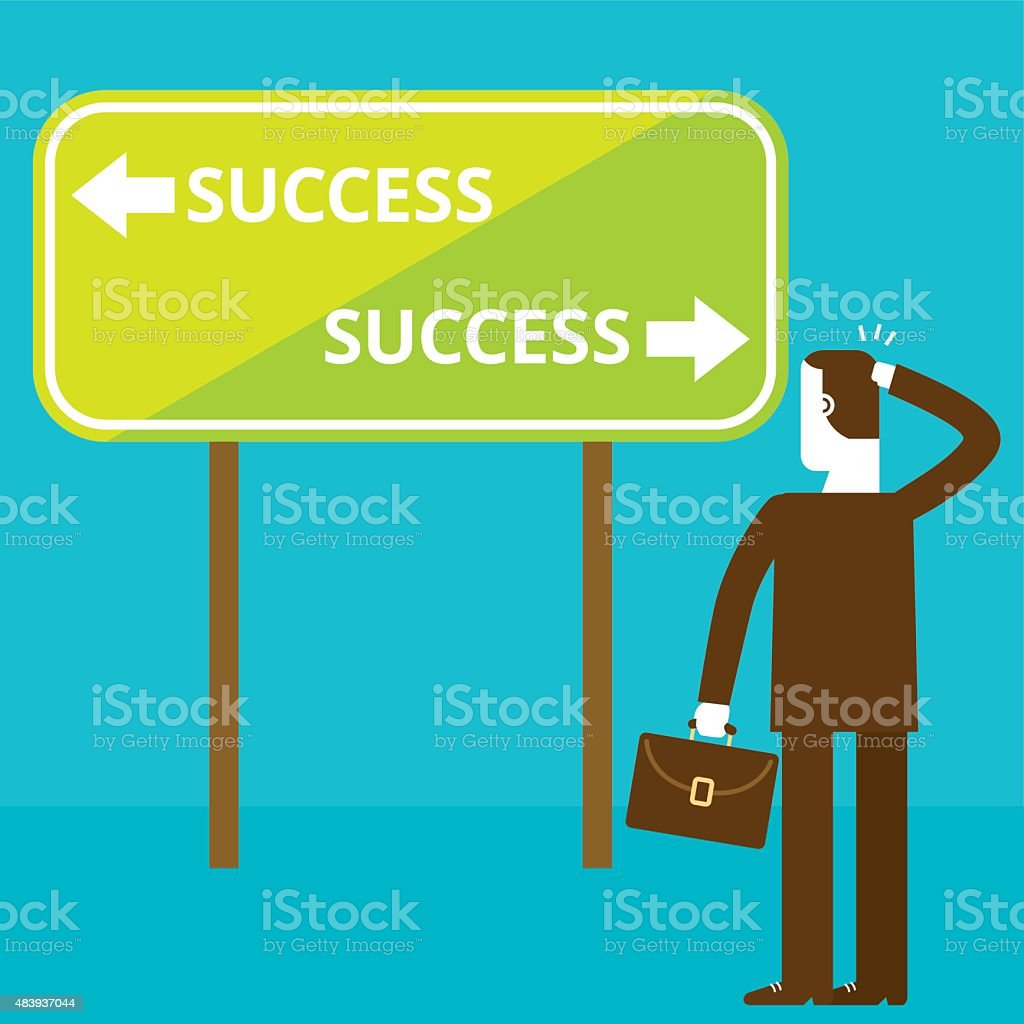 Businessman and Success Signage   New Biz Concept vector art illustration