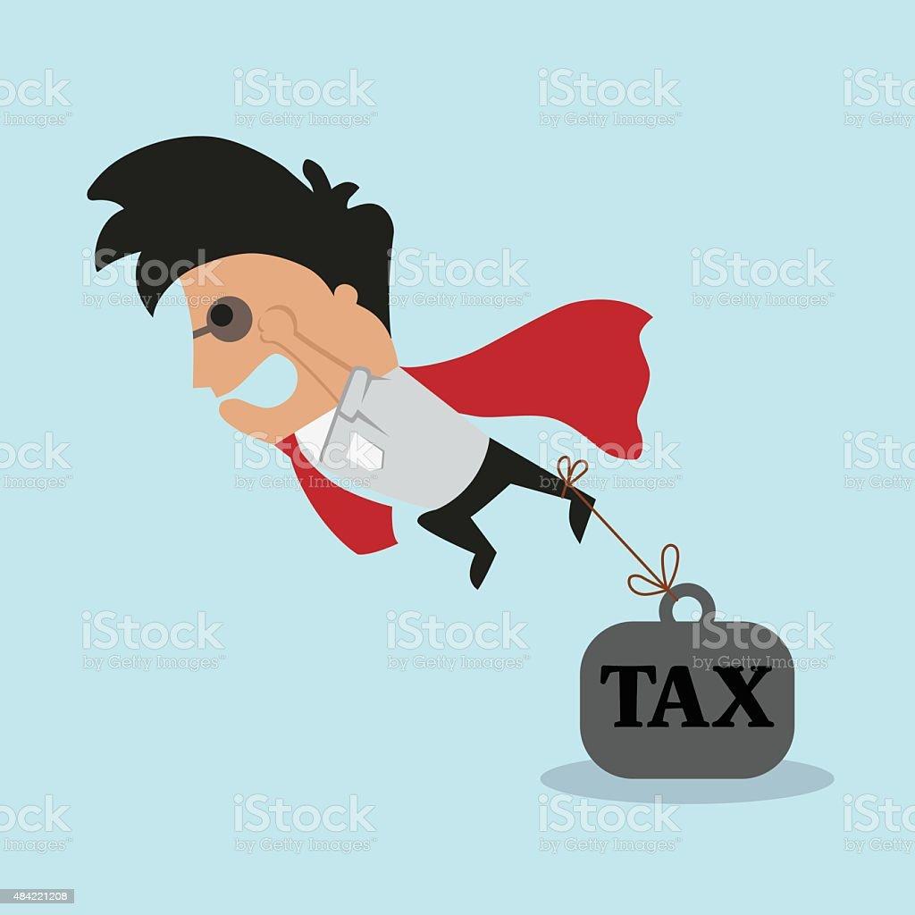Businessman and tax burden. Vector flat illustration vector art illustration
