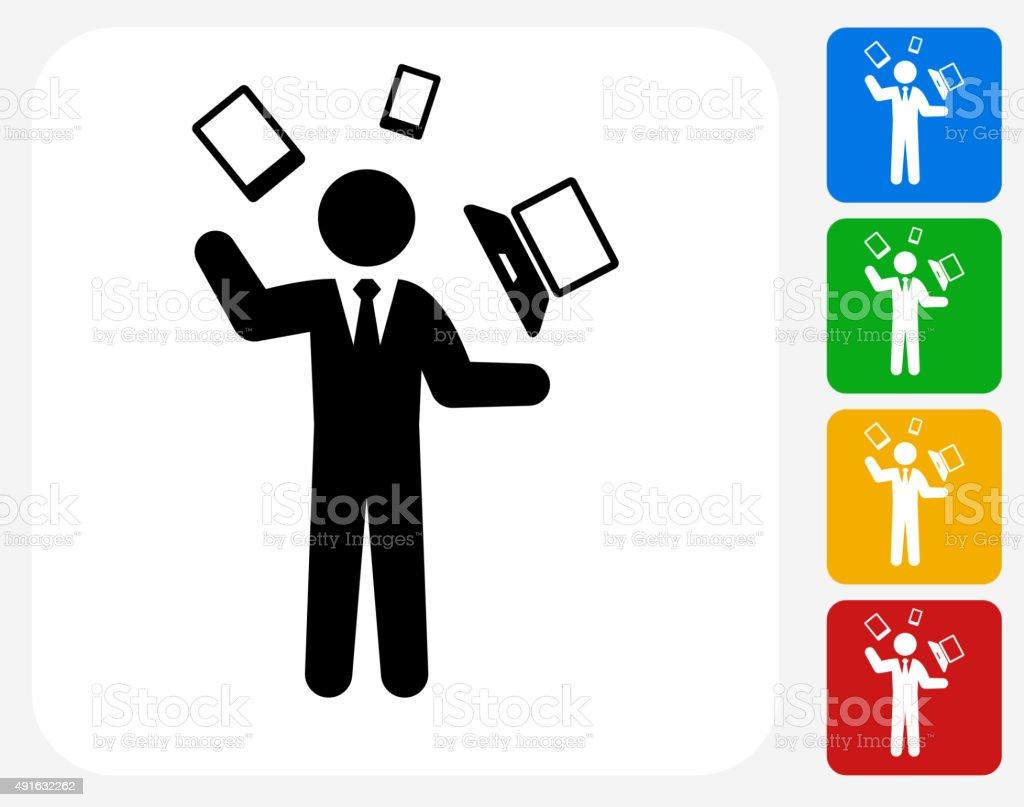 Businessman and Technology Communication Icon Flat Graphic Design vector art illustration