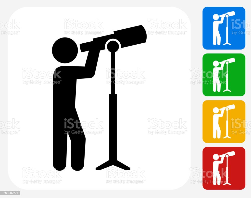 Businessman and Telescope Icon Flat Graphic Design vector art illustration