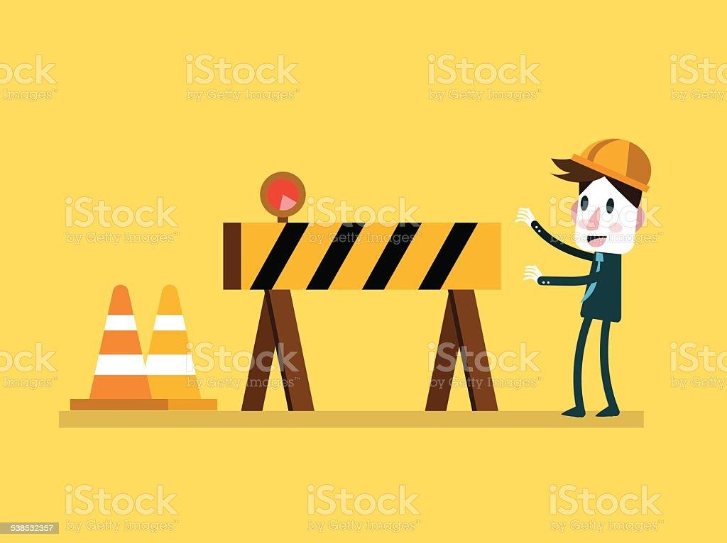 Businessman and Under Construction sign. vector art illustration