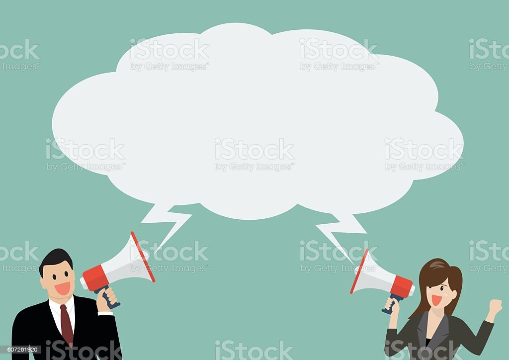 Businessman and woman holding a megaphone with bubble word vector art illustration