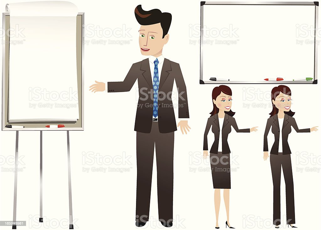 Businessman and woman presentation boards royalty-free stock vector art