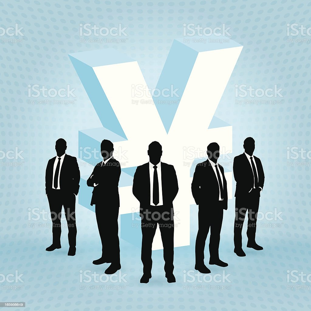 Businessman and Yen sign royalty-free stock vector art