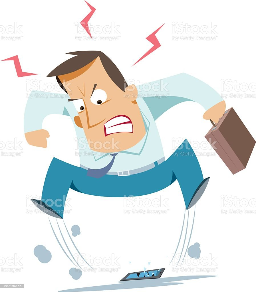 Businessman angry vector art illustration