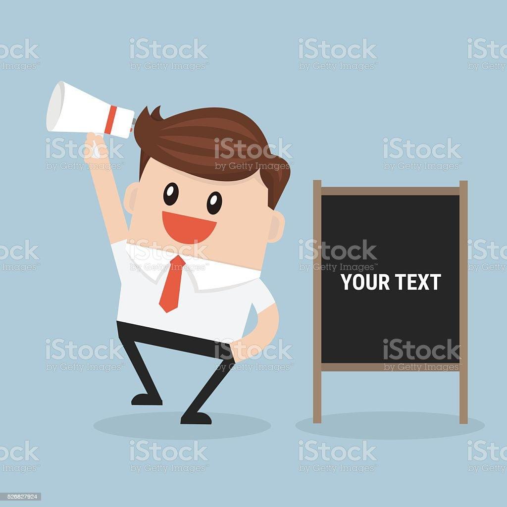 businessman announce advertising. vector vector art illustration