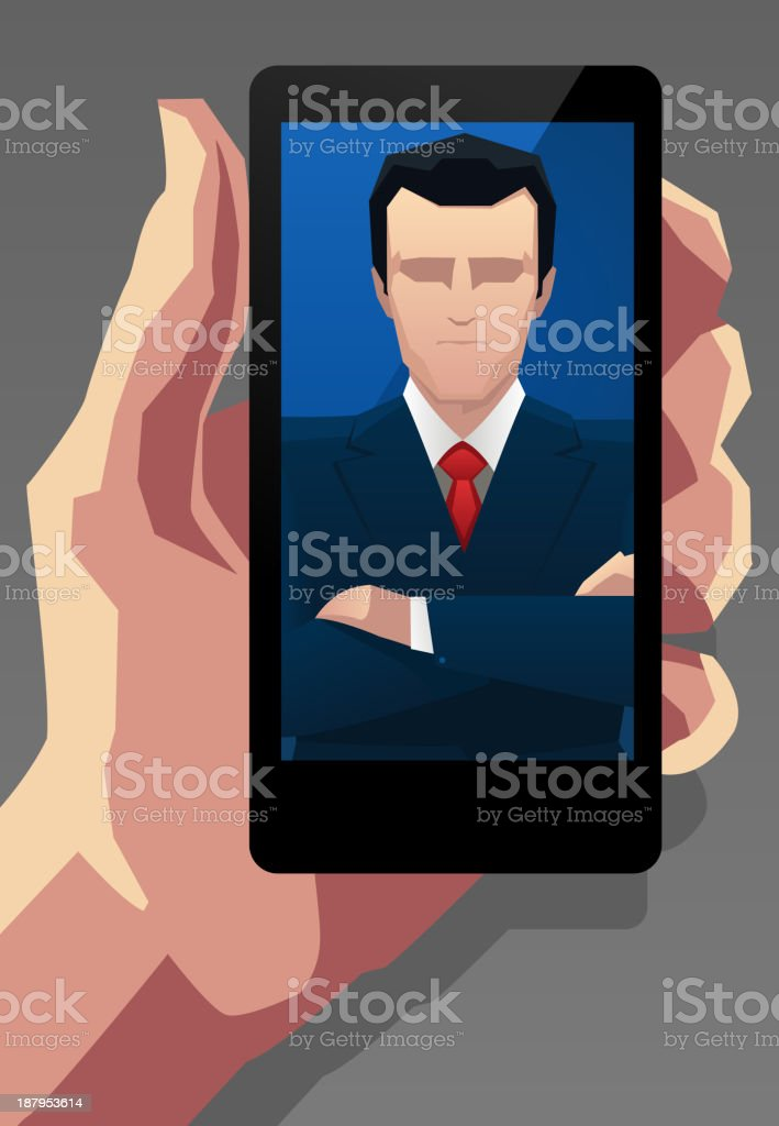 Businessman Application for Smartphone royalty-free stock vector art