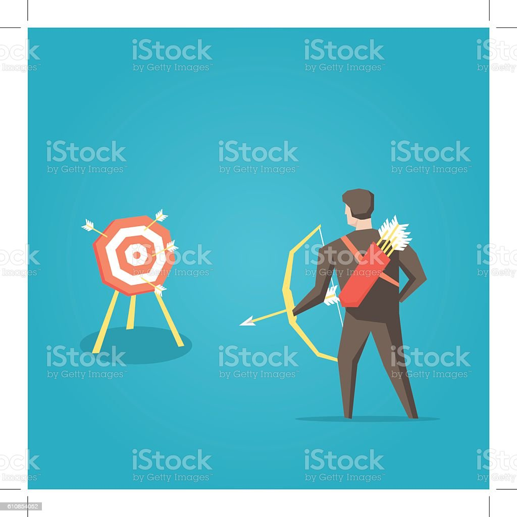 Businessman archer with bow, arrows and target vector illustration vector art illustration