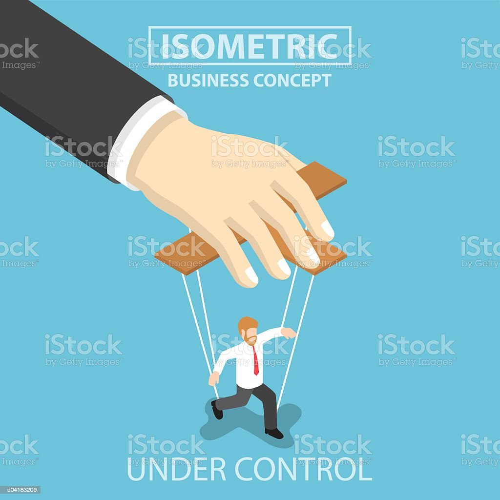 Businessman are under control like a puppet by big hand vector art illustration