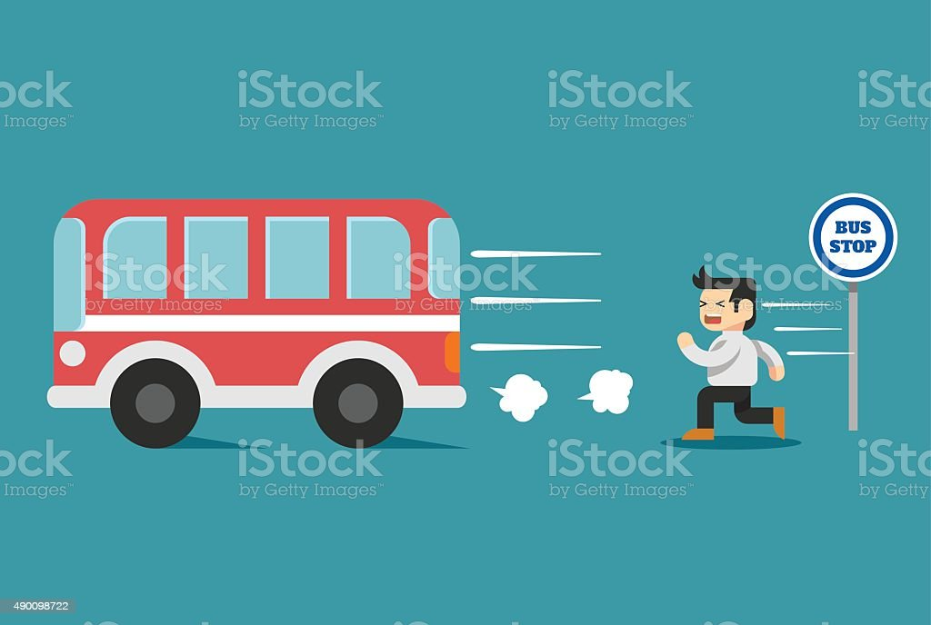 Businessman arriving too late. Vector flat illustration vector art illustration