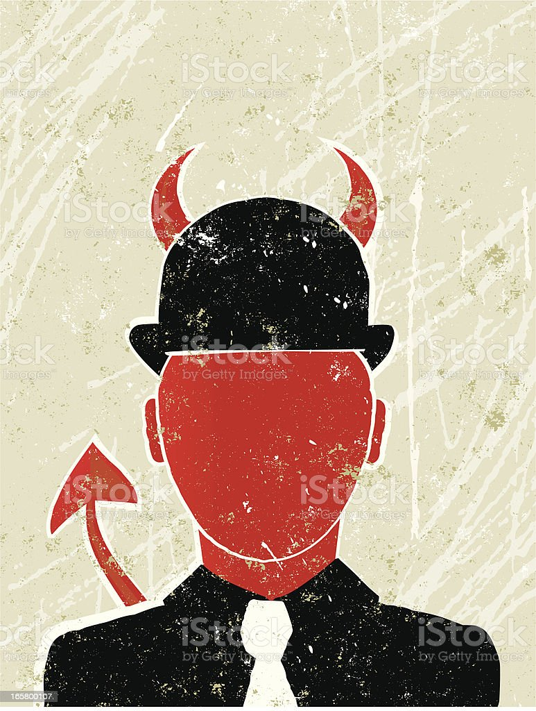 Businessman as a Devil Showing  Corporate Greed royalty-free stock vector art