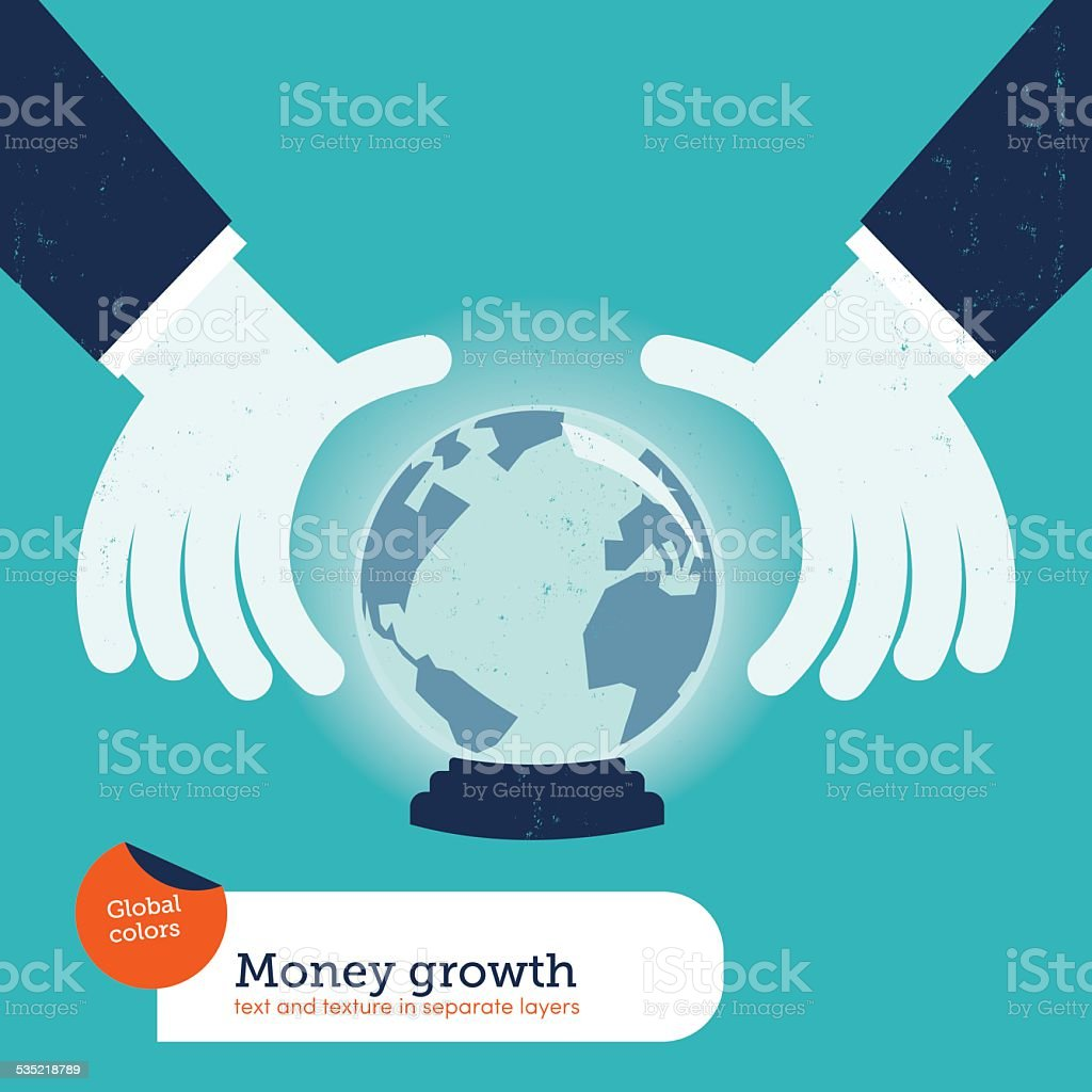 Businessman asking a crystal ball with the world vector art illustration