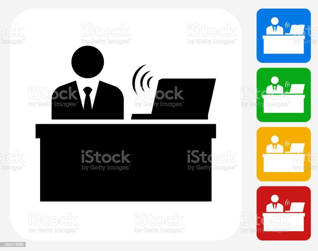 Businessman at Desk Icon Flat Graphic Design vector art illustration