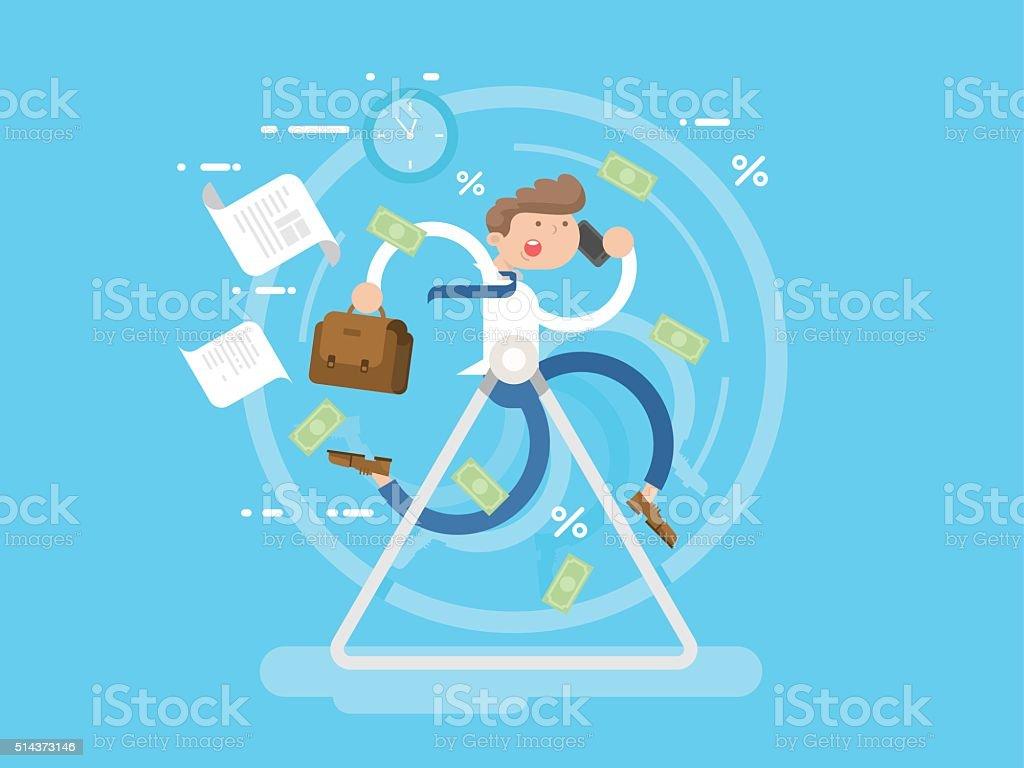 Businessman at the wheel vector art illustration