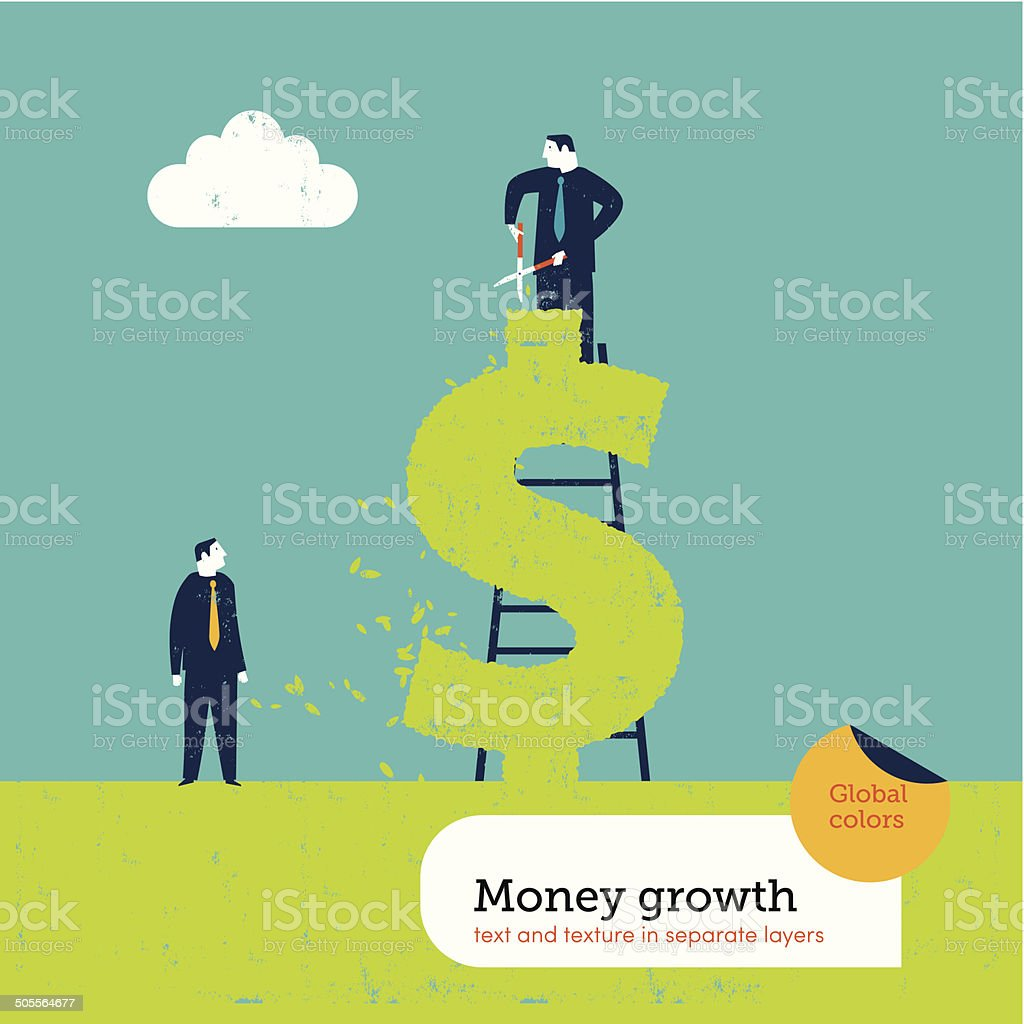 Businessman at work on a dollar form hedge vector art illustration
