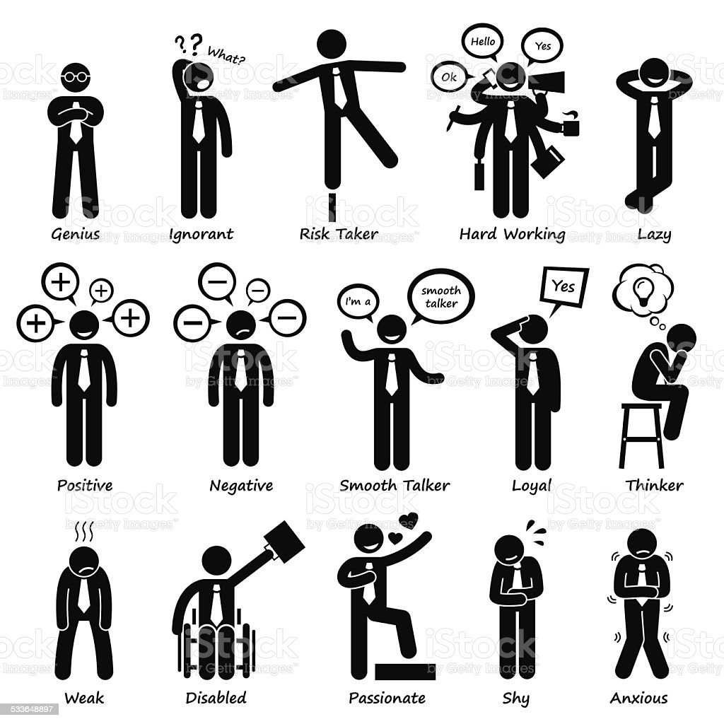 Businessman Attitude Personalities Characters Stick Figure Pictogram Icons vector art illustration