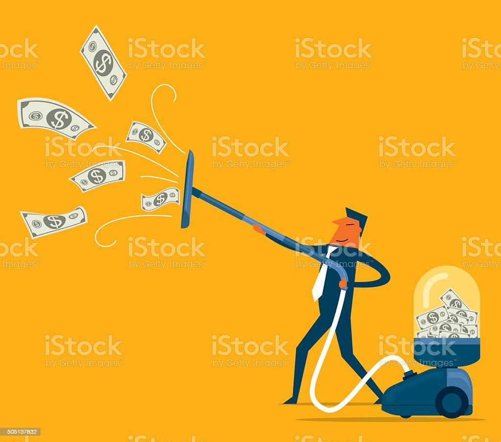 Businessman attracts money vector art illustration