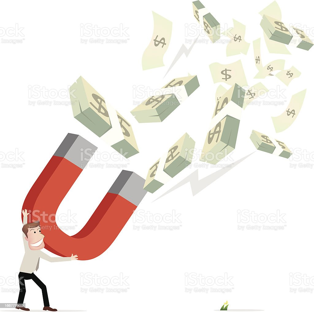 Businessman attracts money with a large magnet royalty-free stock vector art