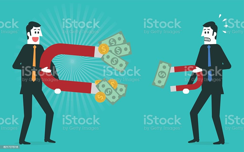Businessman attracts money with a large magnet vector art illustration