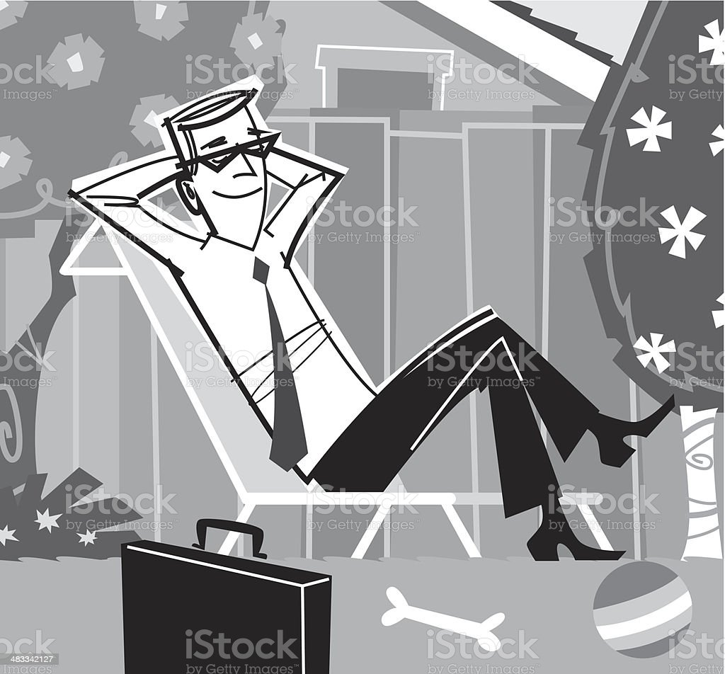 Businessman Backyard vector art illustration