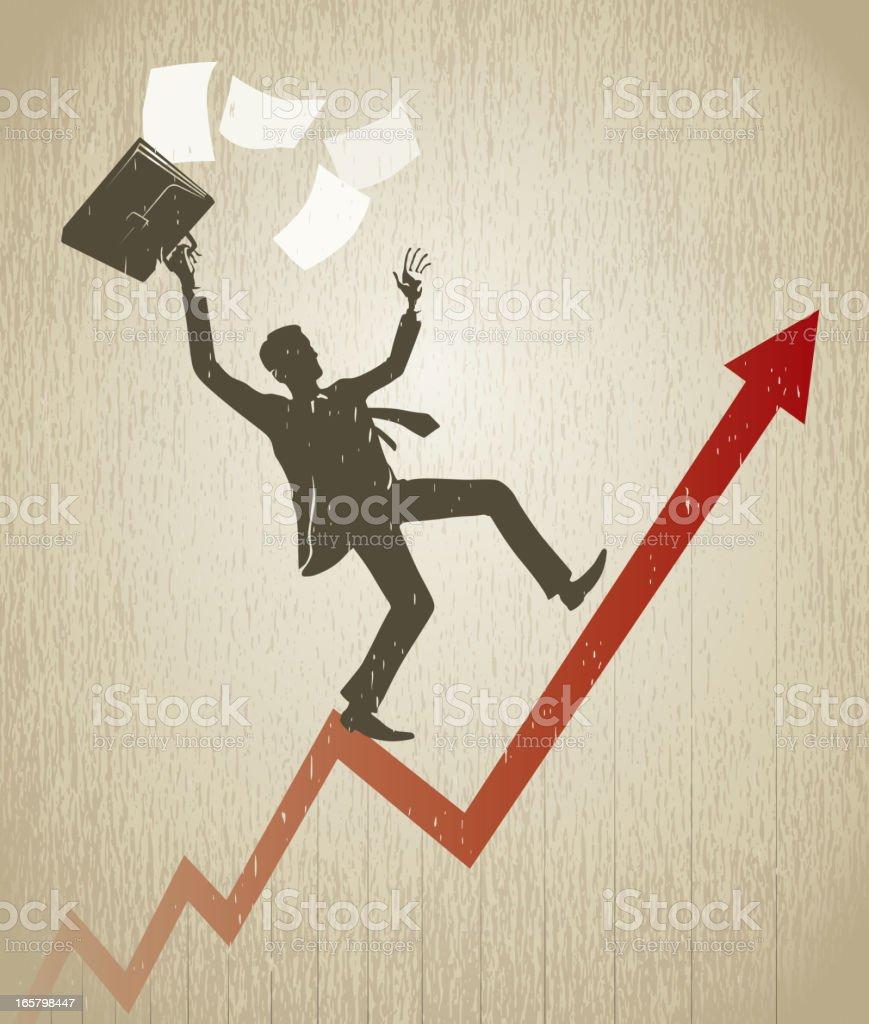Businessman balance on line graph vector art illustration