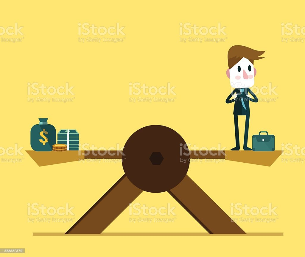 Businessman balance on scale with money. vector art illustration