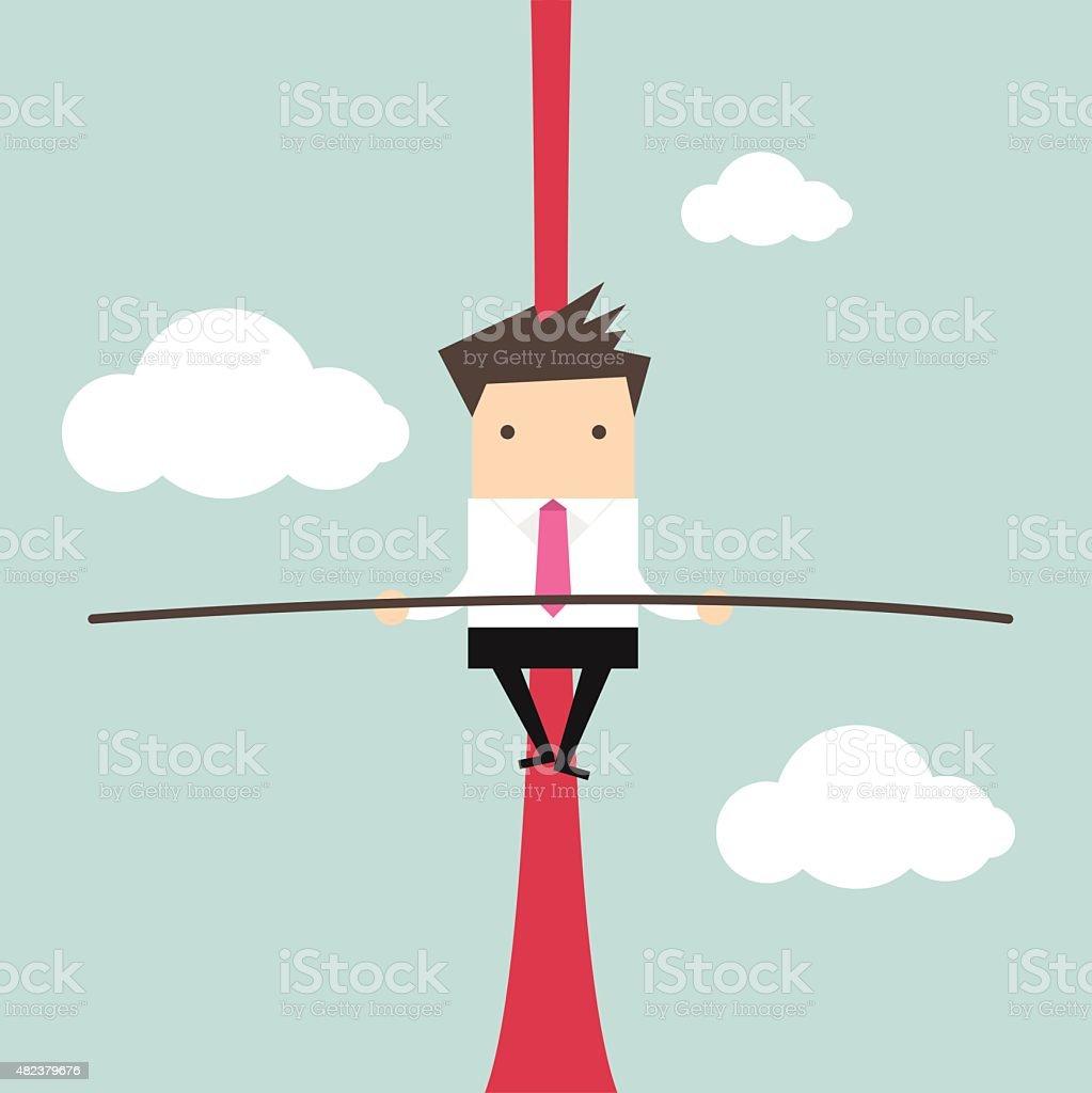 Businessman balancing on rope vector art illustration