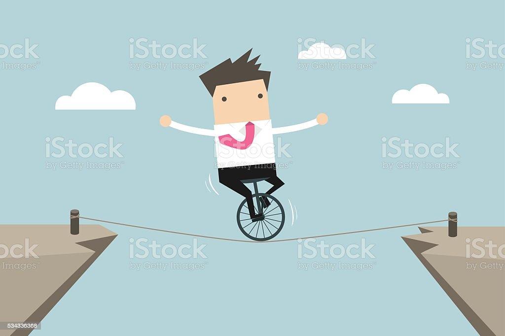 Businessman balancing on the rope vector art illustration