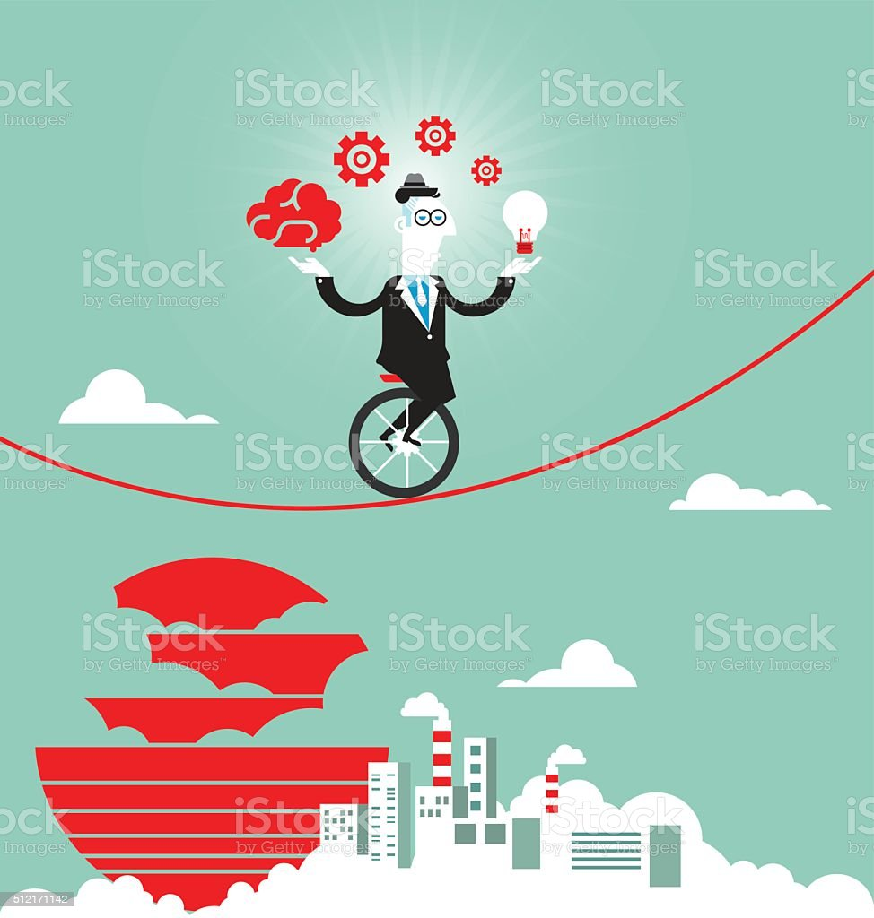 Businessman balancing on the rope with ideas vector art illustration
