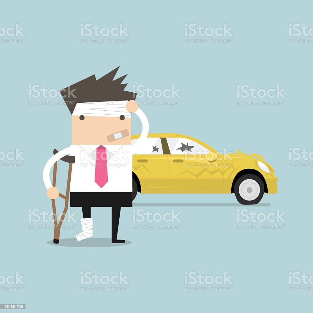 Businessman be injured with car accident vector art illustration