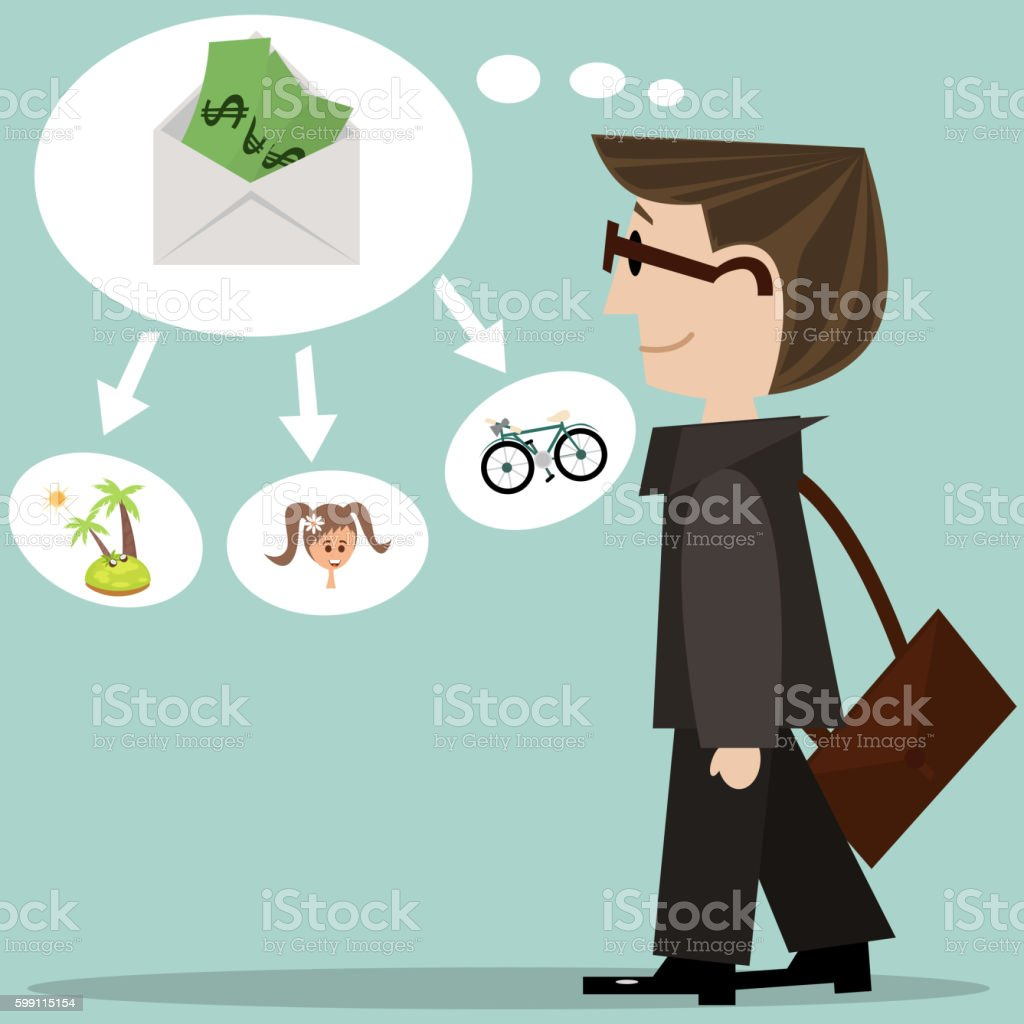 Businessman before getting salary. vector art illustration