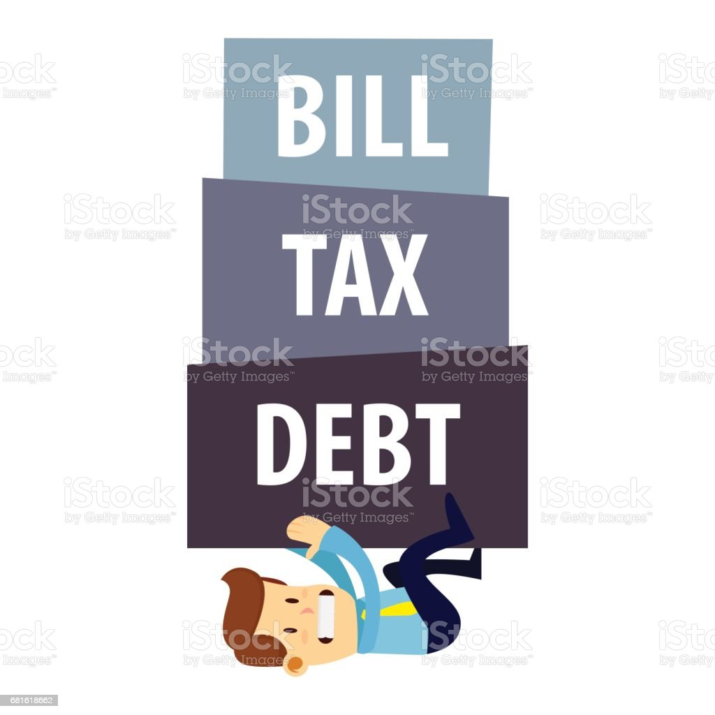 Businessman Being Crushed By Debt Tax And Bills vector art illustration