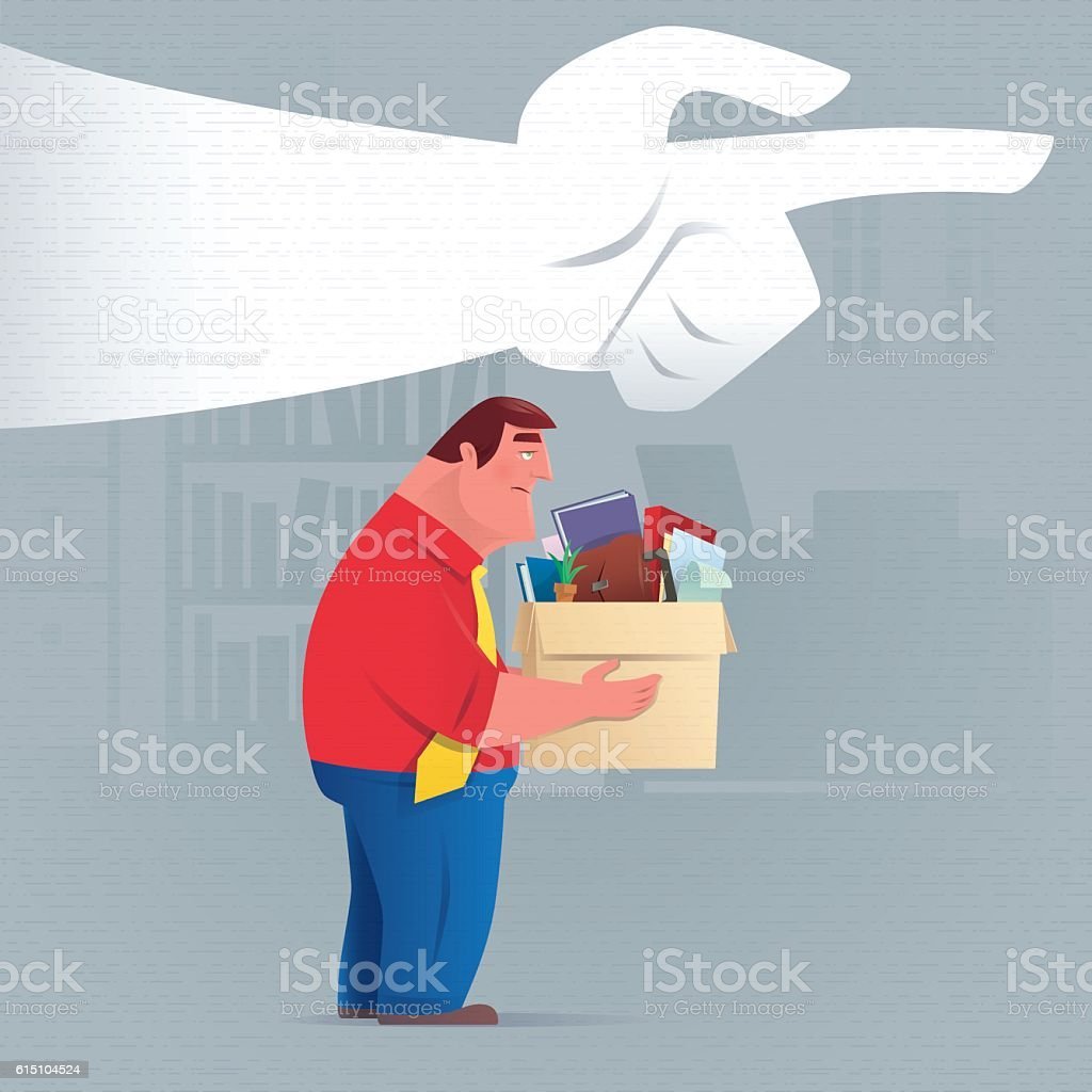 businessman being fired vector art illustration