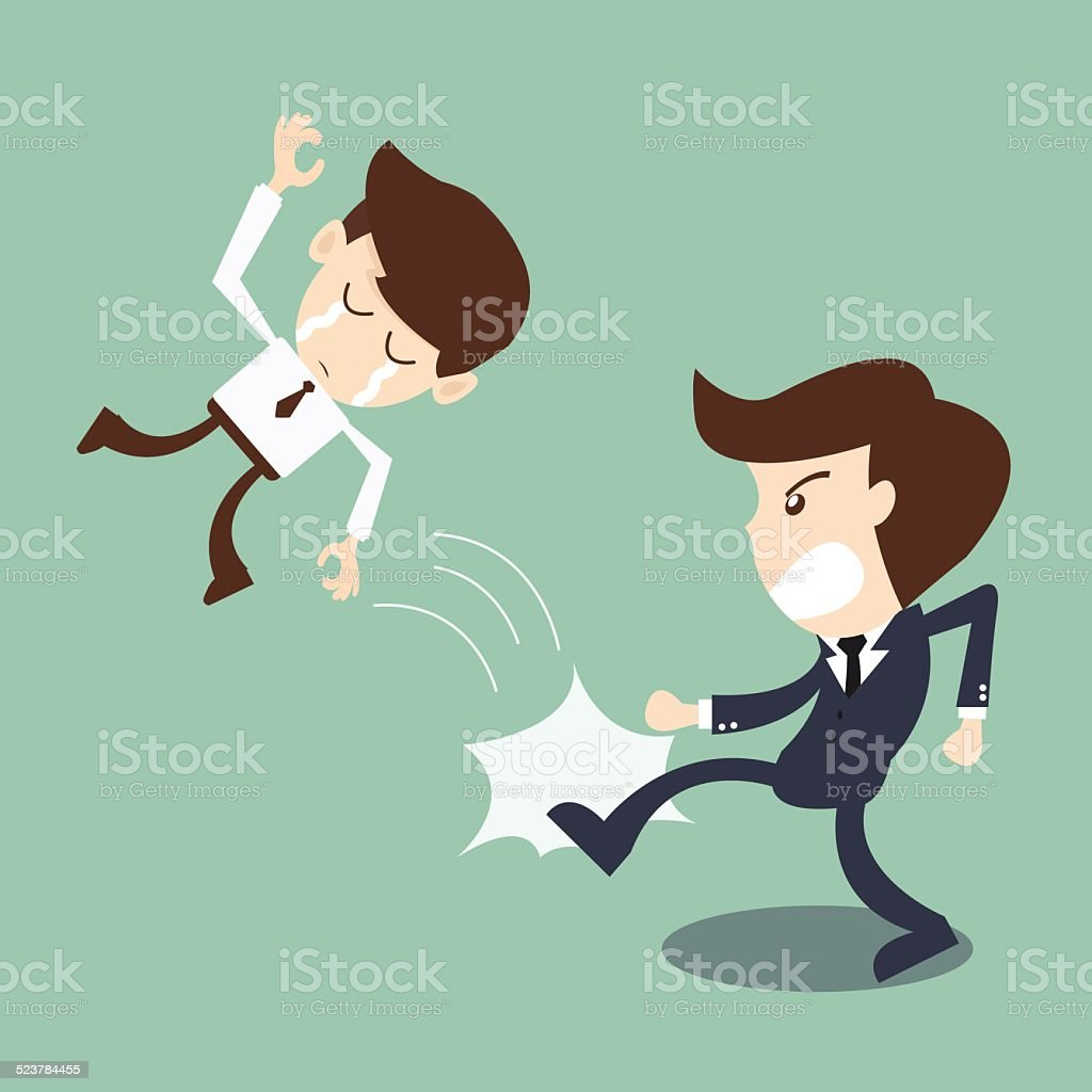 businessman being kicked out by boss -  Kicked Out vector art illustration
