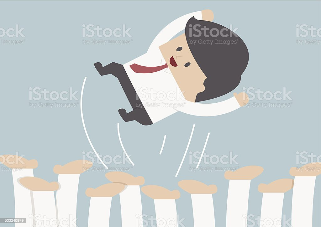 Businessman being throwing up by his team, Success concept vector art illustration