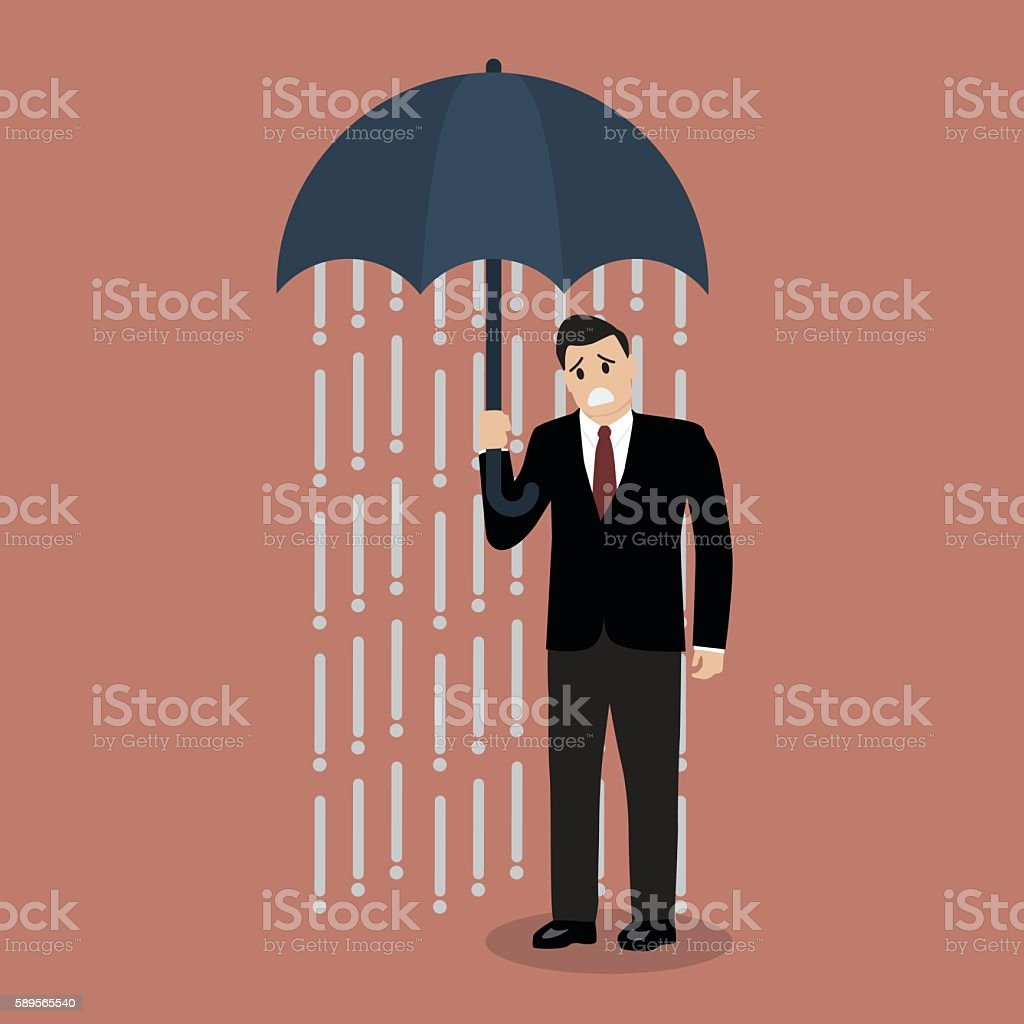 Businessman being wet from raining instead he holding umbrella vector art illustration