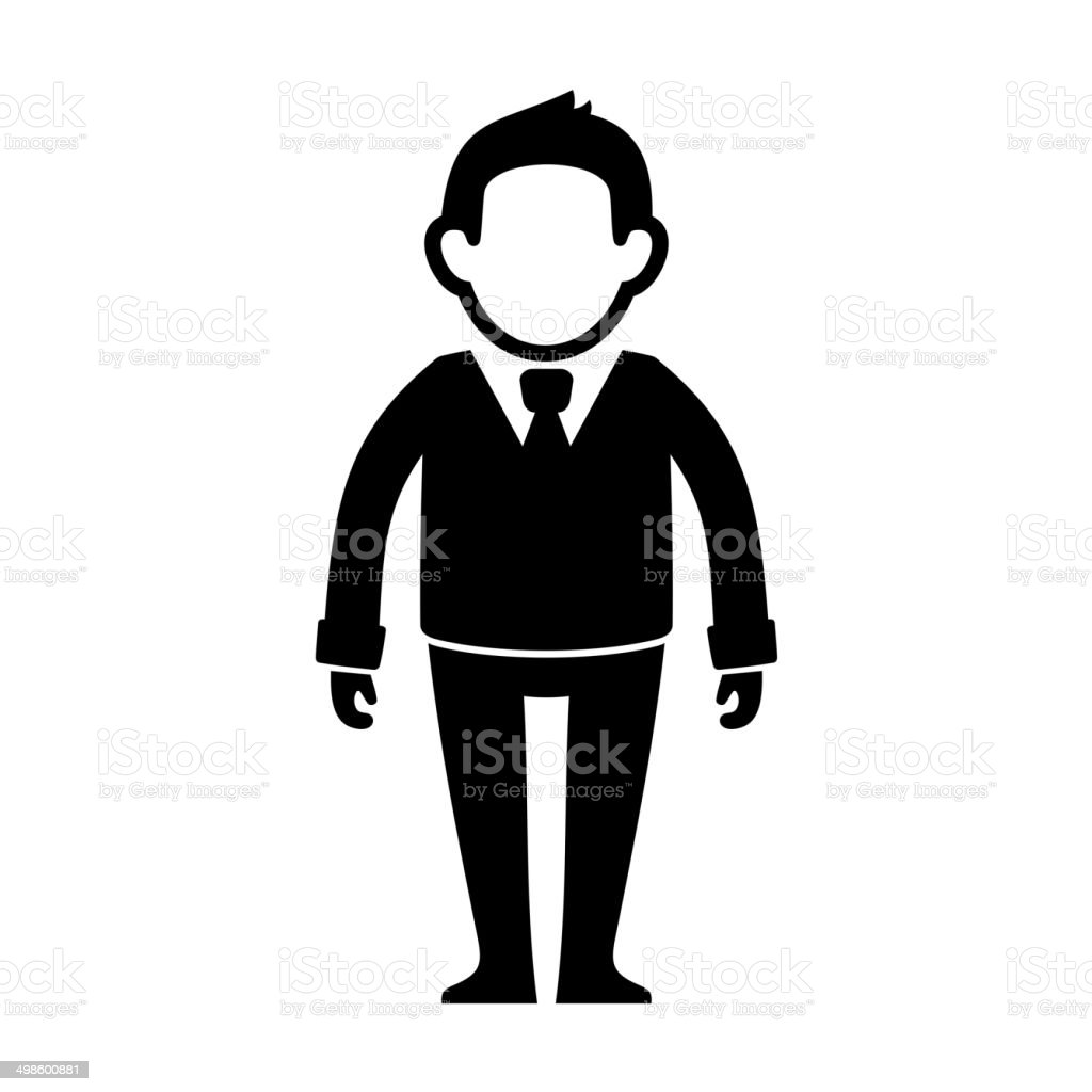 Businessman Black Silhouette Web Icon. Vector royalty-free stock vector art