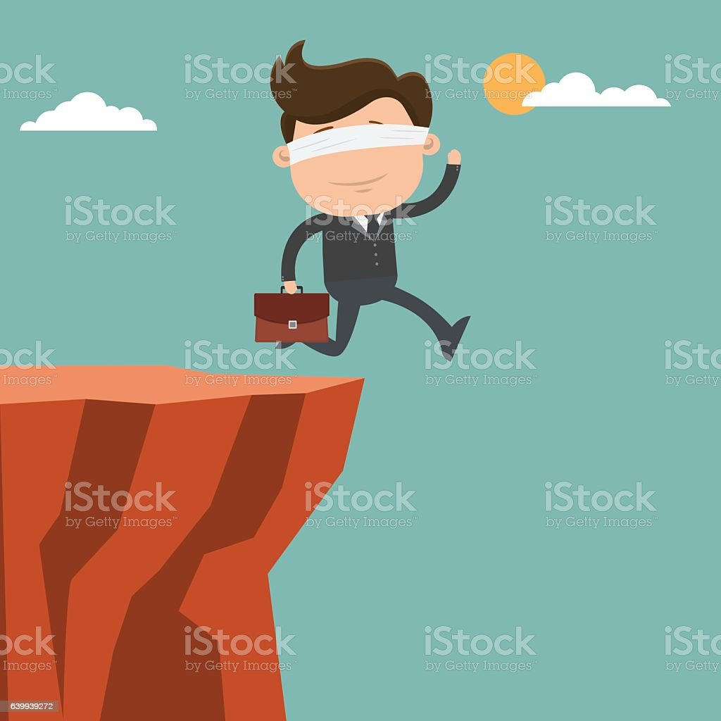 Businessman blindfolded and running to the cliffs - vector illus vector art illustration